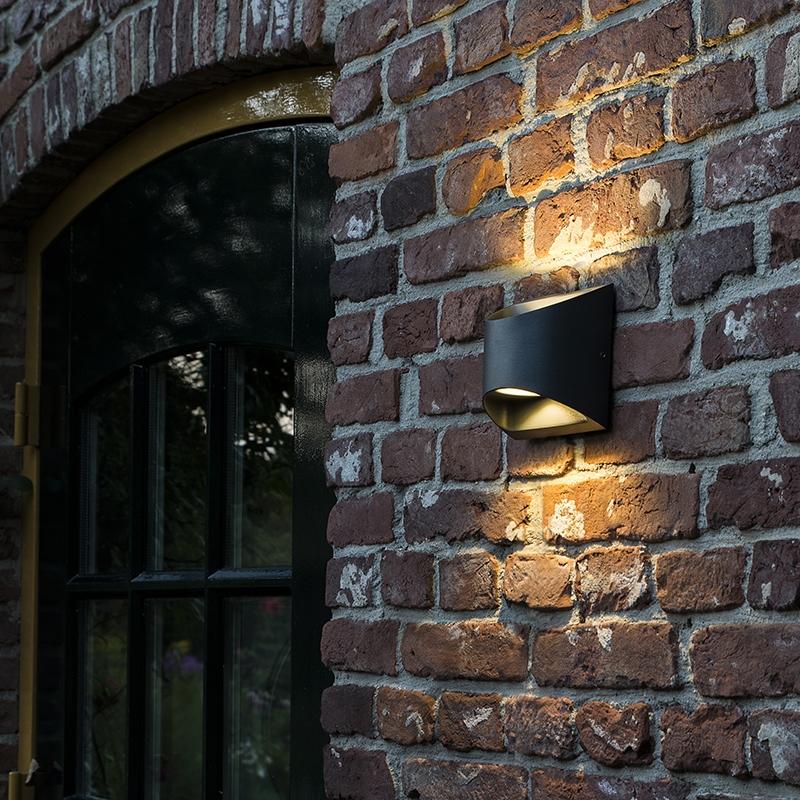 Moderne buitenwandlamp donkergrijs incl. LED - Mal