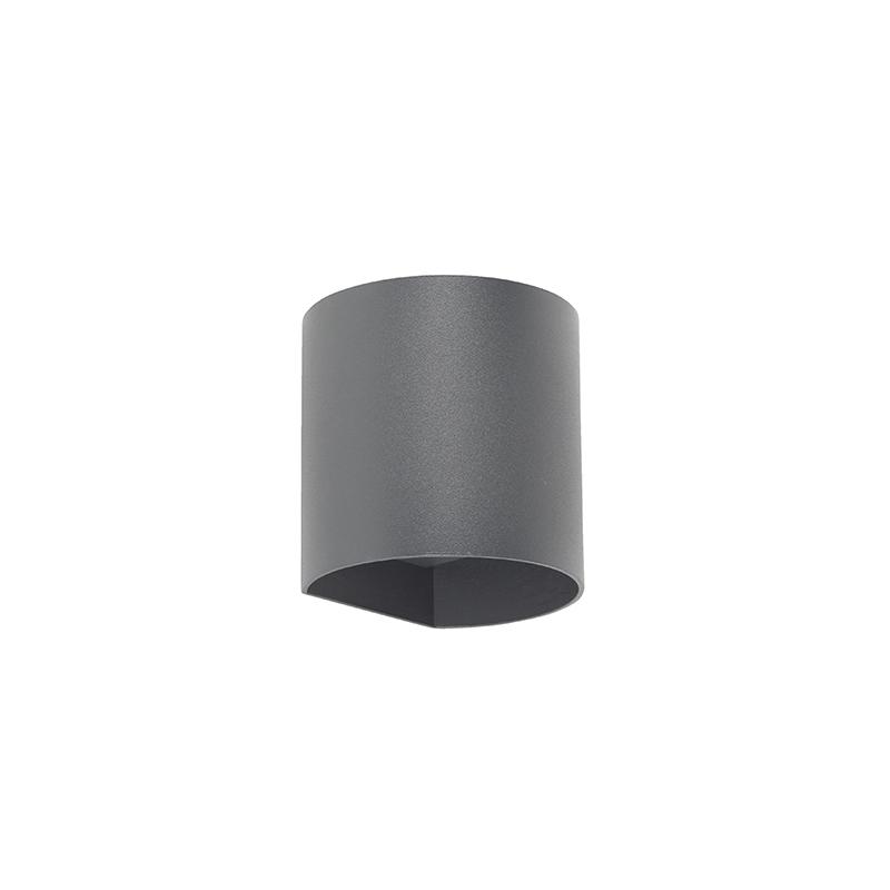 Moderne ronde buitenwandlamp donkergrijs incl. LED - Evi