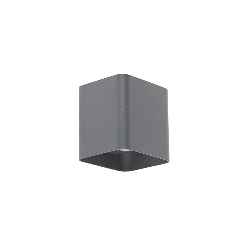 Moderne vierkante buitenwandlamp donkergrijs incl. LED - Evi
