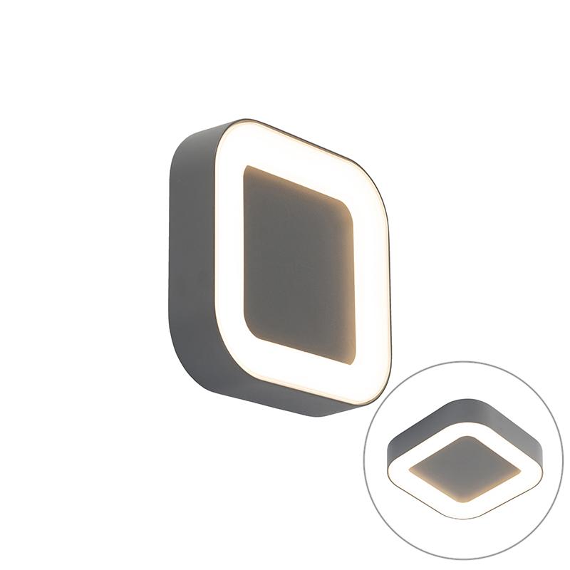 Moderne vierkante buitenwandlamp donker grijs incl. LED - Ariel