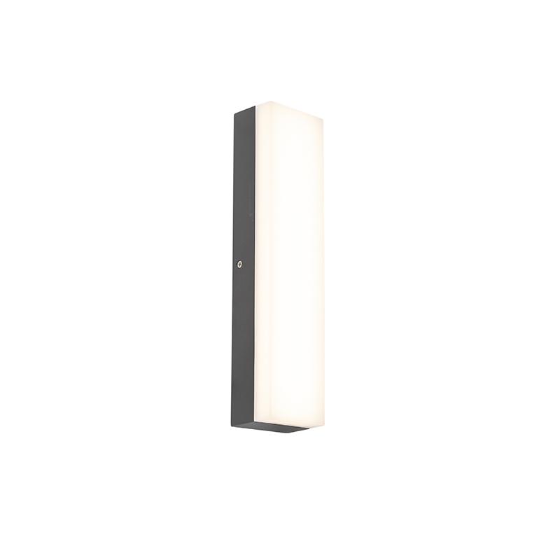 Moderne rechthoekige buitenwandlamp donkergrijs - Opacus