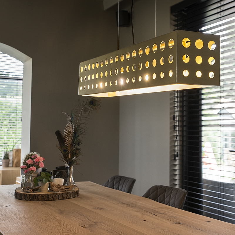Vintage Hanglamp Goud Met 4 Lichtpunten - Cage 70s