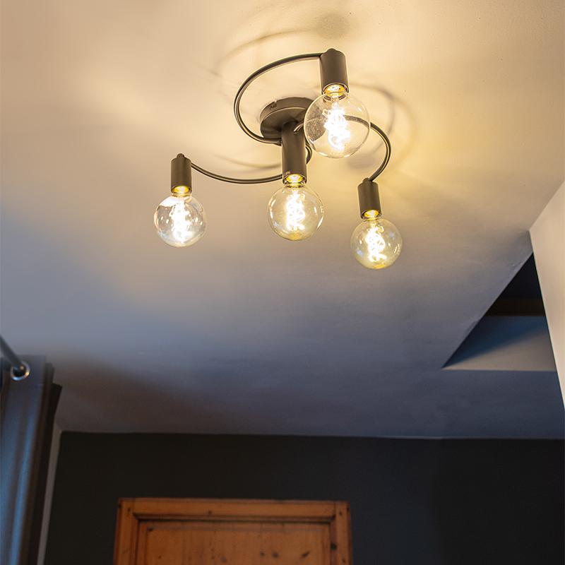 Art deco plafondlamp zwart 4-lichts - Facil