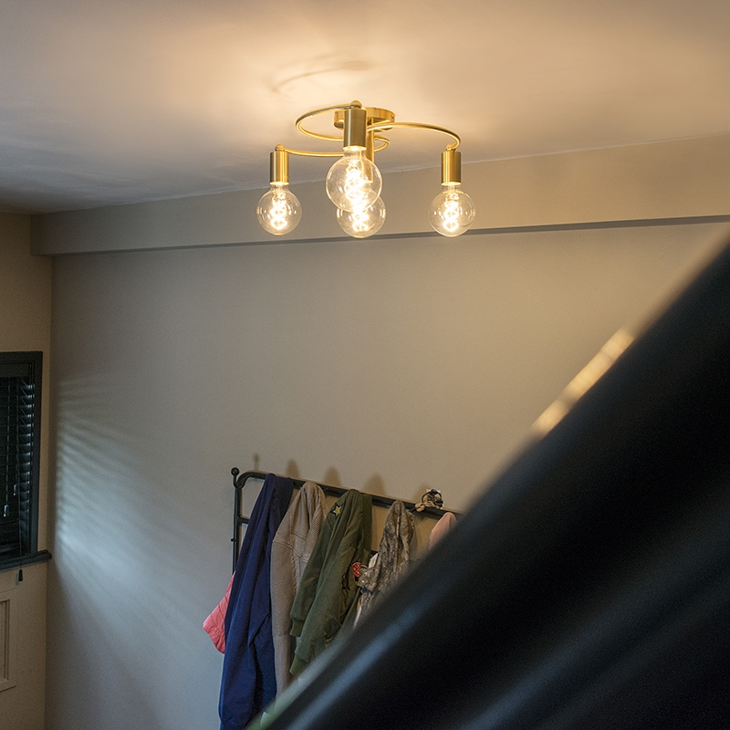 Art deco plafondlamp messing 4-lichts - Facil