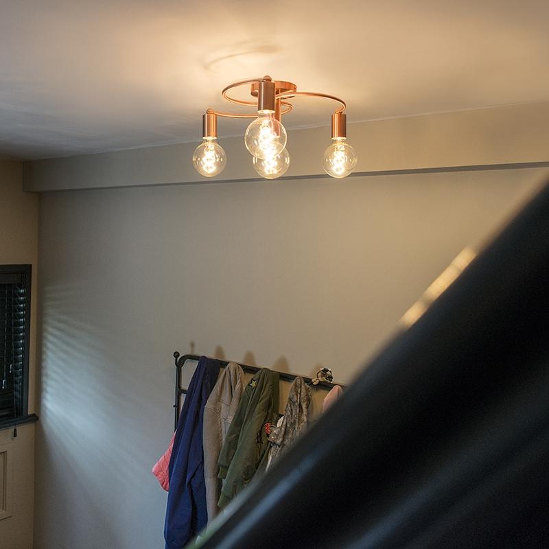 Art deco plafondlamp koper 4-lichts - Facil