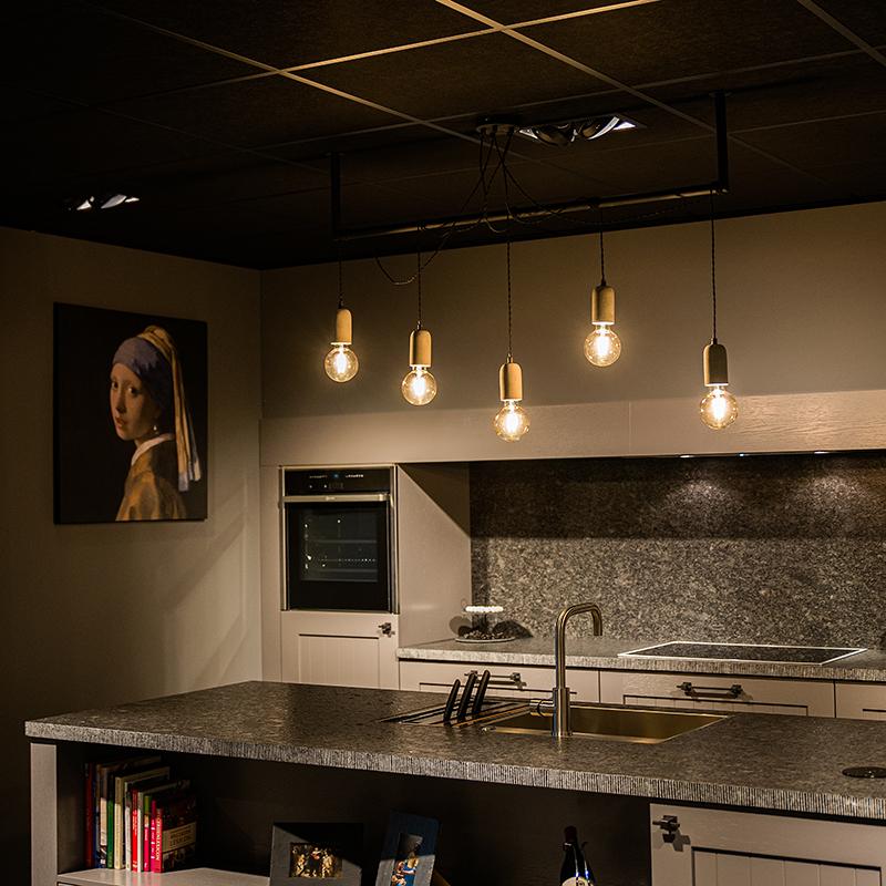 Industriële hanglamp zwart met beton 5-lichts - Cavoba