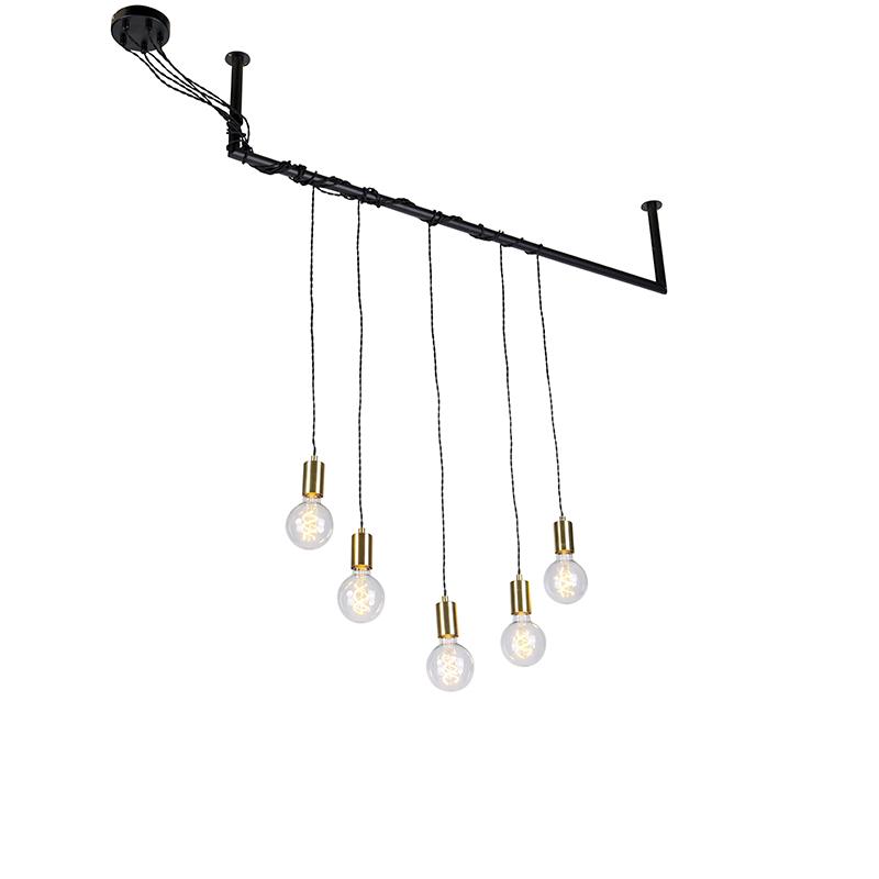 Industriële hanglamp zwart met messing 5 lichts Cavoba