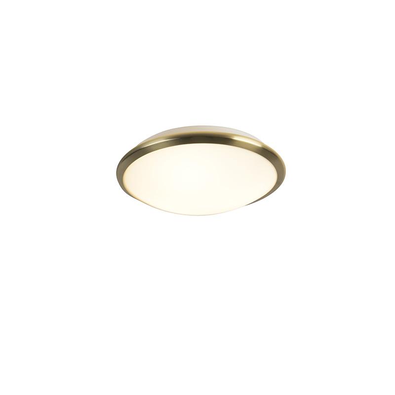 Moderne ronde plafondlamp goud met glas incl. LED - Pippin