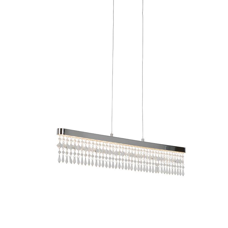 Moderne hanglamp chroom met kristallen incl. LED - Ora