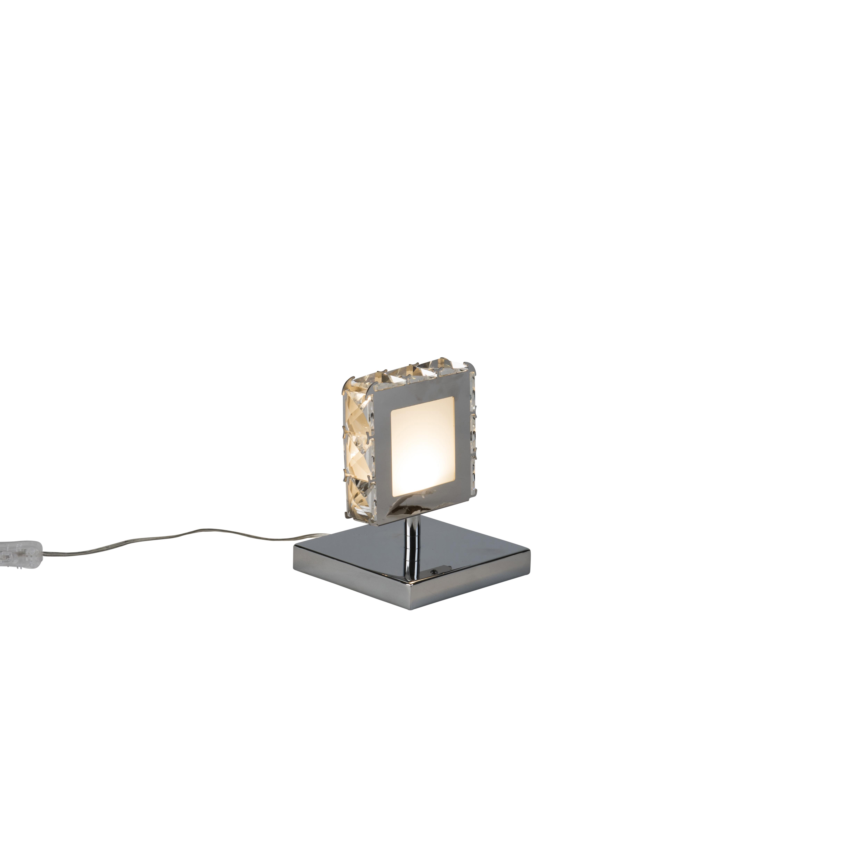 Moderne vierkante tafellamp chroom incl. LED - Chloe