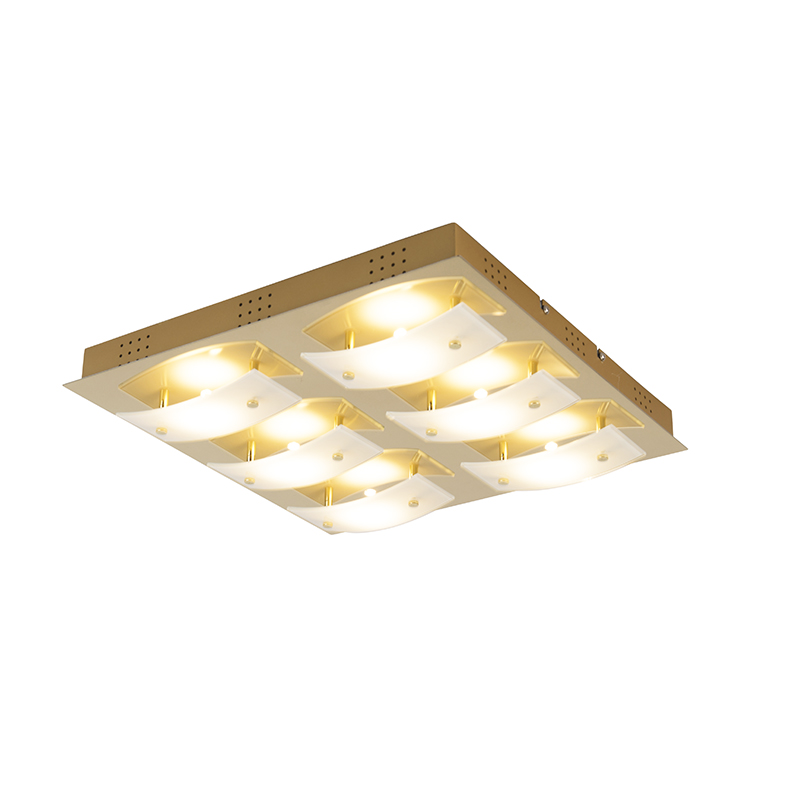 Moderne vierkante plafondlamp goud incl. LED - Grant