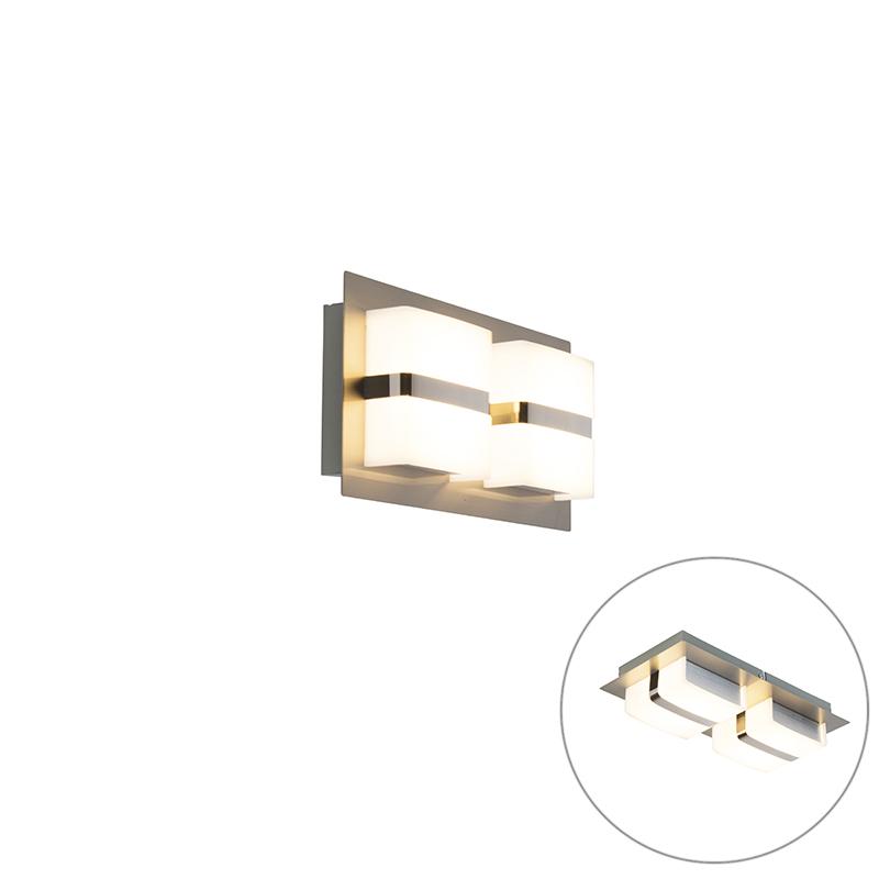 Moderne rechthoekige wandlamp staal incl. LED 2-lichts - Lena