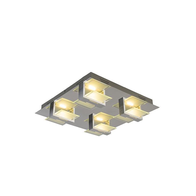Moderne vierkante plafondlamp staal incl. LED 4-lichts - Lena