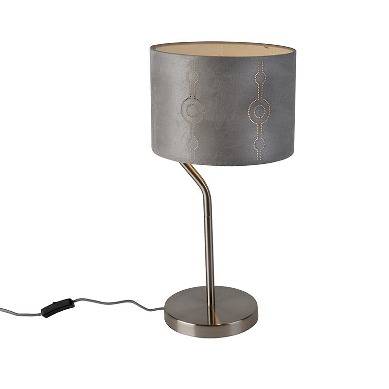 Moderne tafellamp staal met grijze kap - Lane
