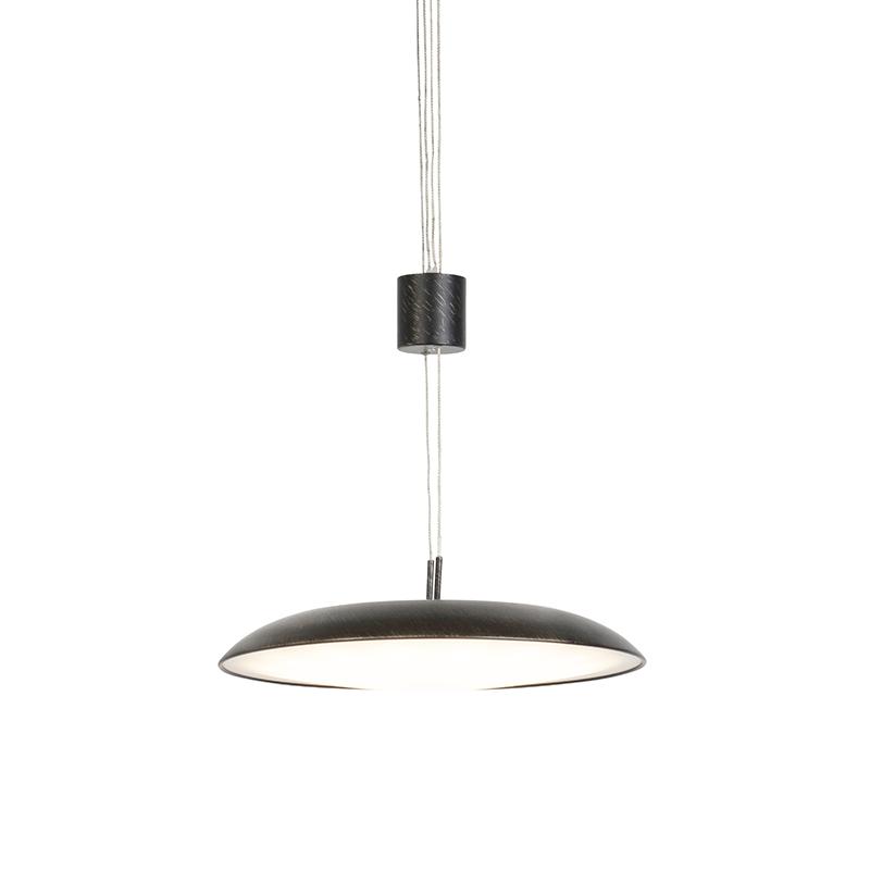 Moderne hanglamp donkerbruin met met rond glas - Daxam
