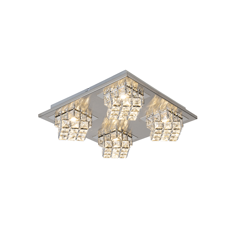 Design vierkante plafondlamp chroom incl. LED 4-lichts - Waffle