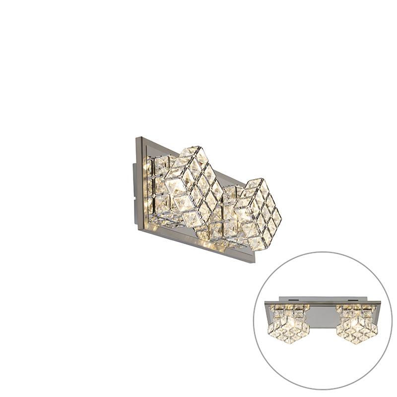 Design wandlamp chroom incl. LED 2-lichts - Waffle