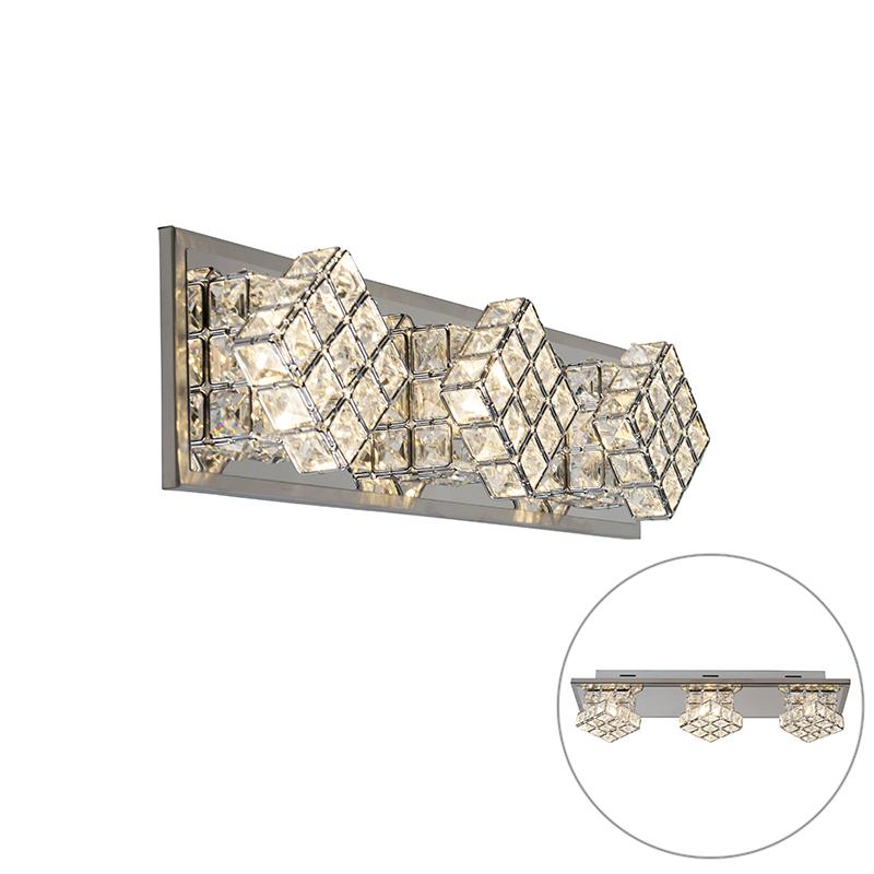 Design wandlamp chroom incl. LED 3-lichts - Waffle