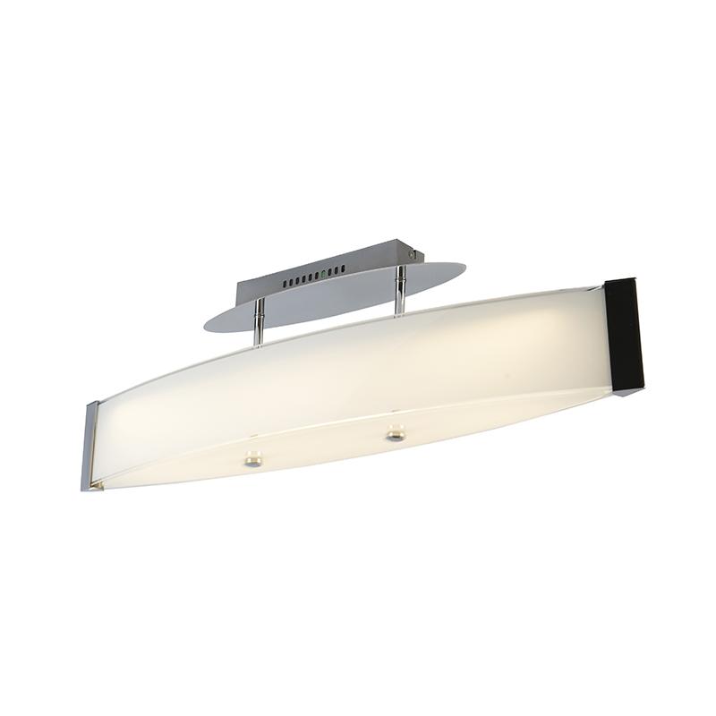 Design plafondlamp chroom met glas incl. LED - Tabby