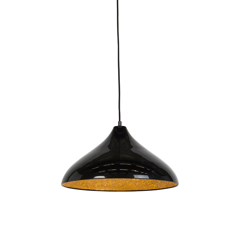 Moderne hanglamp zwart met gouden binnenkant 40cm - Tatu