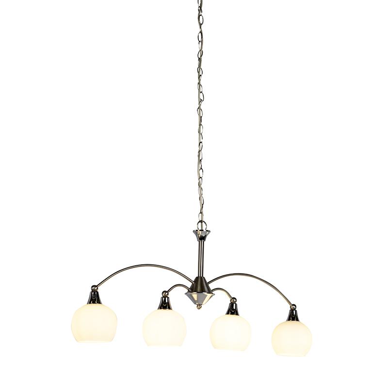 Lampa wisząca w stylu art deco stal 4 światła - Sant