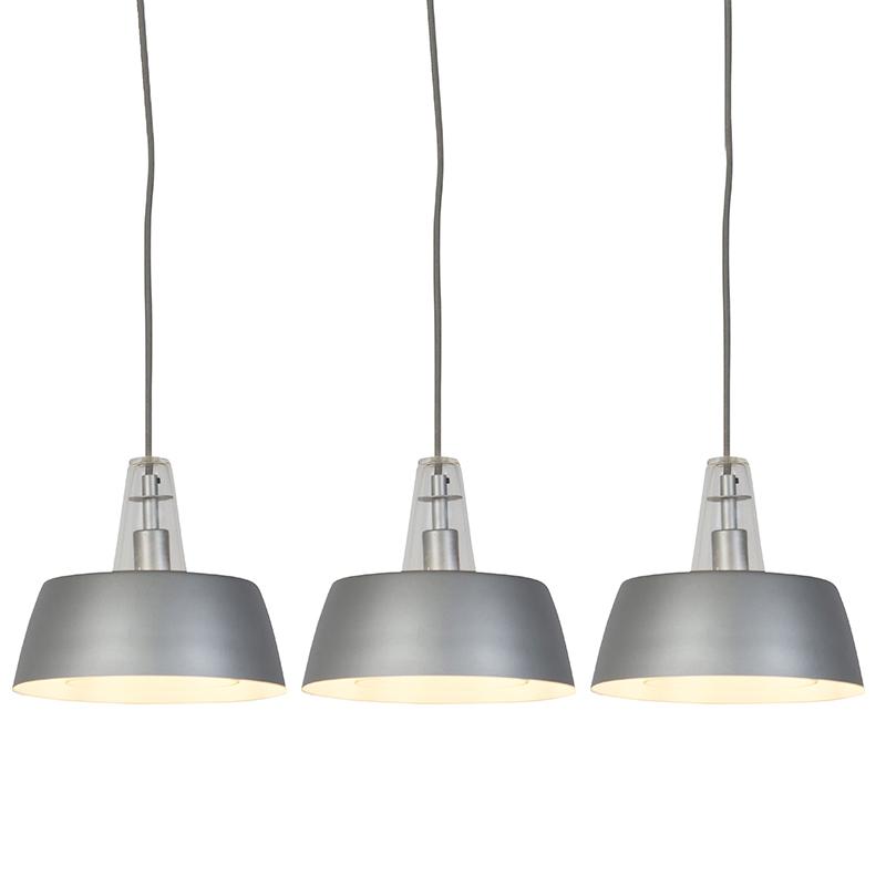Set van 3 moderne hanglampen grijs - Manu