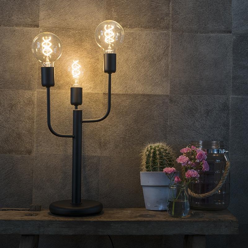 Nowoczesna lampa stołowa czarna 3-źródła światła - Facile