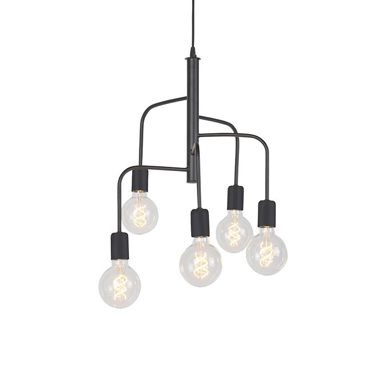 Nowoczesna lampa wisząca czarna 5-źródeł światła - Facile