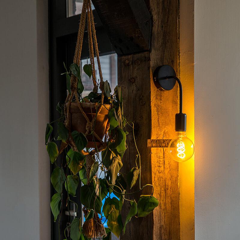 Industriële wandlamp zwart - Facile