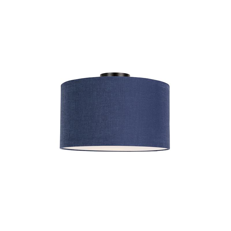 Moderne plafondlamp zwart met antieke blauw kap en blender 35cm - Combi