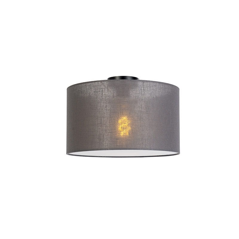Moderne plafondlamp zwart met donker grijze kap en blender 35cm - Combi