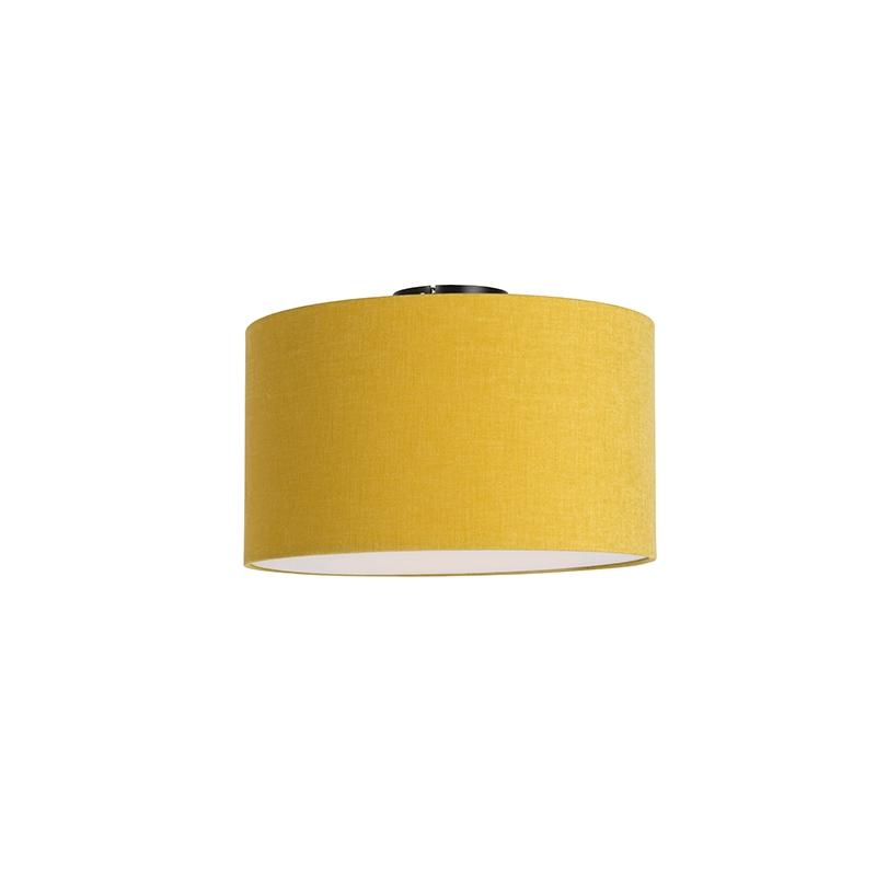 Moderne plafondlamp zwart met mais kleurige kap en blender 35cm - Combi