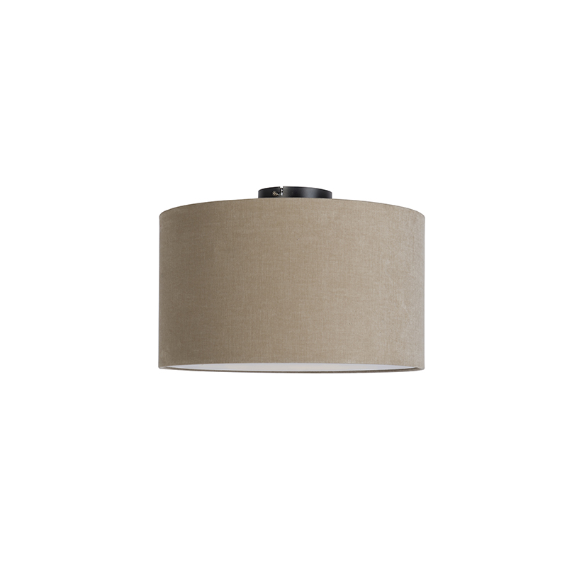 Moderne plafondlamp zwart met koffie kleurige kap en blender 35cm - Combi