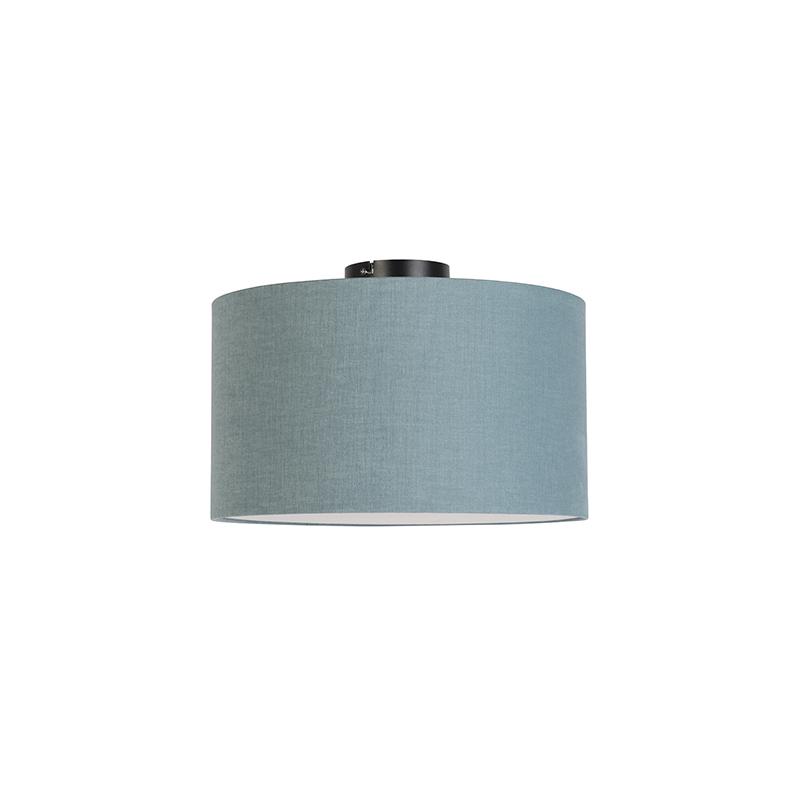 Moderne plafondlamp zwart met mineraal kleurige kap en blender 35cm - Combi