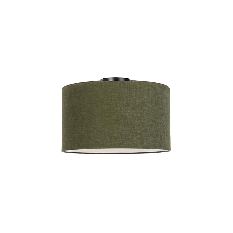 Moderne plafondlamp zwart met mos groene kap en blender 35cm - Combi