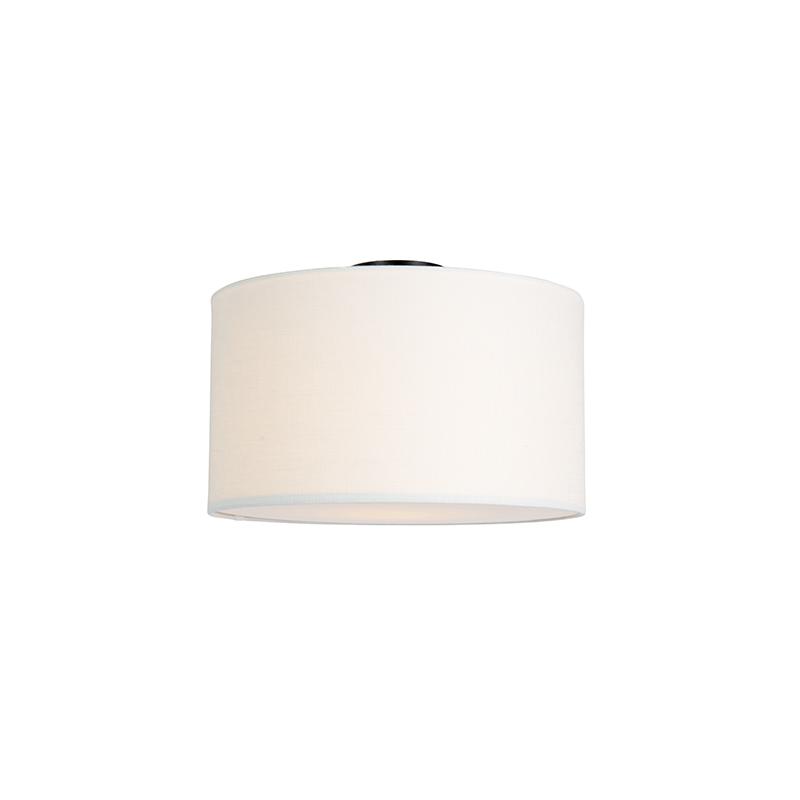 Moderne plafondlamp zwart met off-white kap en blender 35cm - Combi