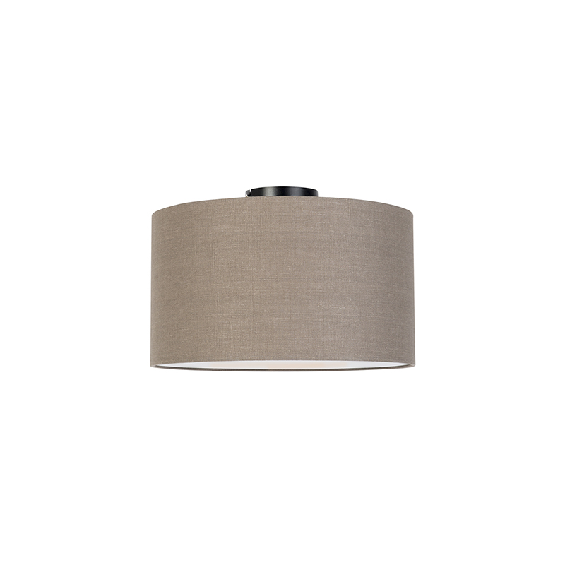 Moderne plafondlamp zwart met oud grijze kap en blender 35cm - Combi