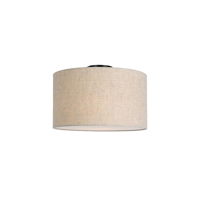 Moderne plafondlamp zwart met peper kleurige kap en blender 35cm - Combi