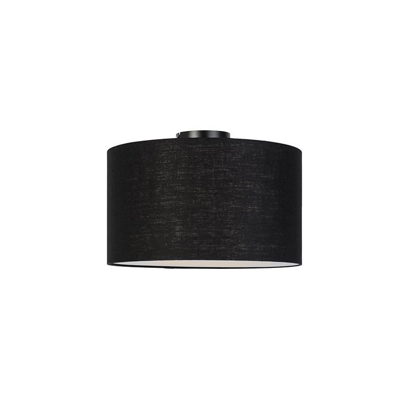 Moderne plafondlamp zwart met zwarte kap en blender 35cm - Combi