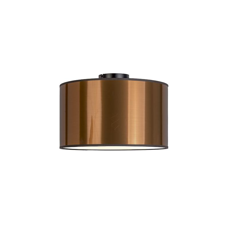 Moderne plafondlamp zwart met koperen kap en blender 35cm - Combi
