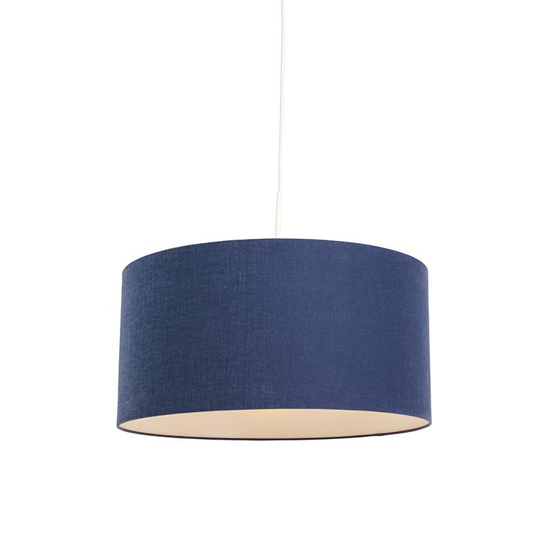 Moderne hanglamp wit met antiek blauwe kap 50cm - Combi 1