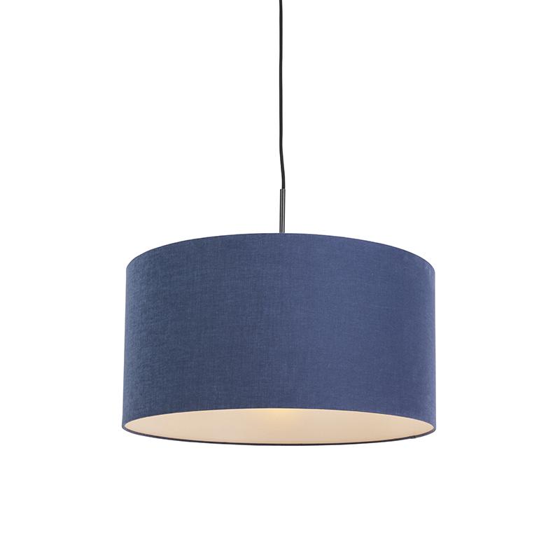 Moderne hanglamp zwart met antiek blauwe kap 50cm - Combi 1