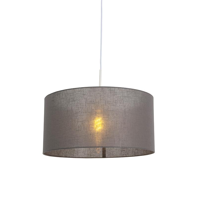 Moderne hanglamp wit met donker grijze kap 50cm - Combi 1