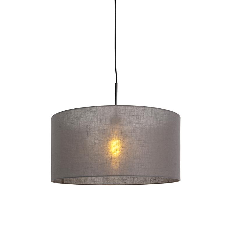 Moderne hanglamp zwart met donker grijze kap 50cm - Combi 1
