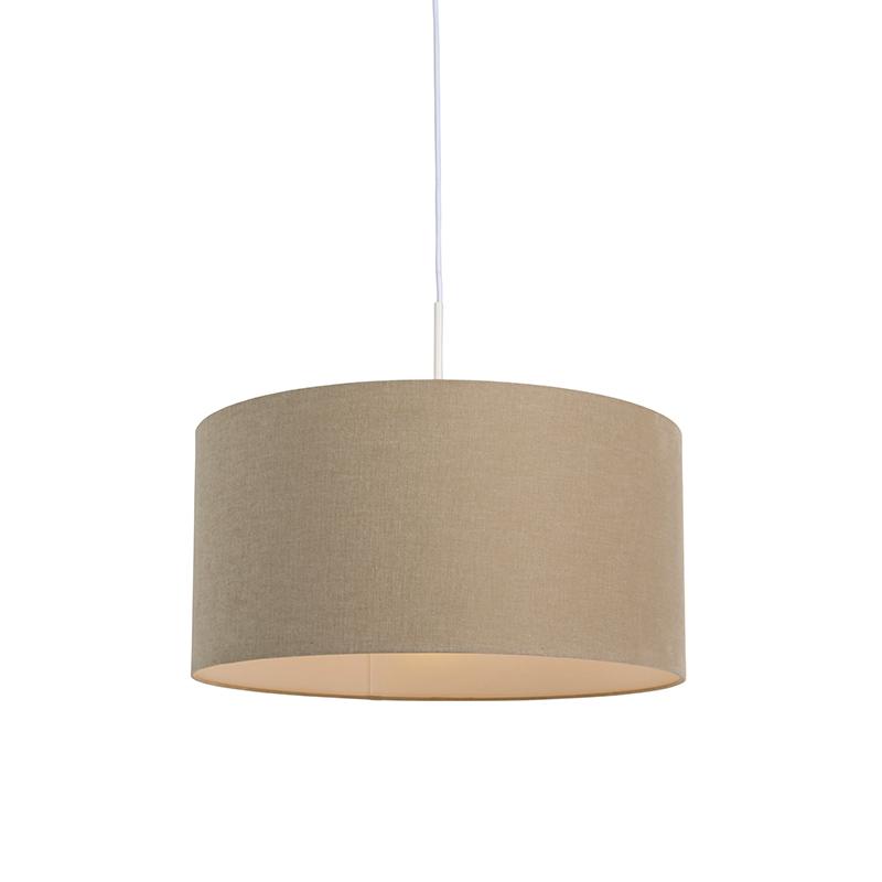 Lampa wisząca biała klosz beżowy 50cm - Combi