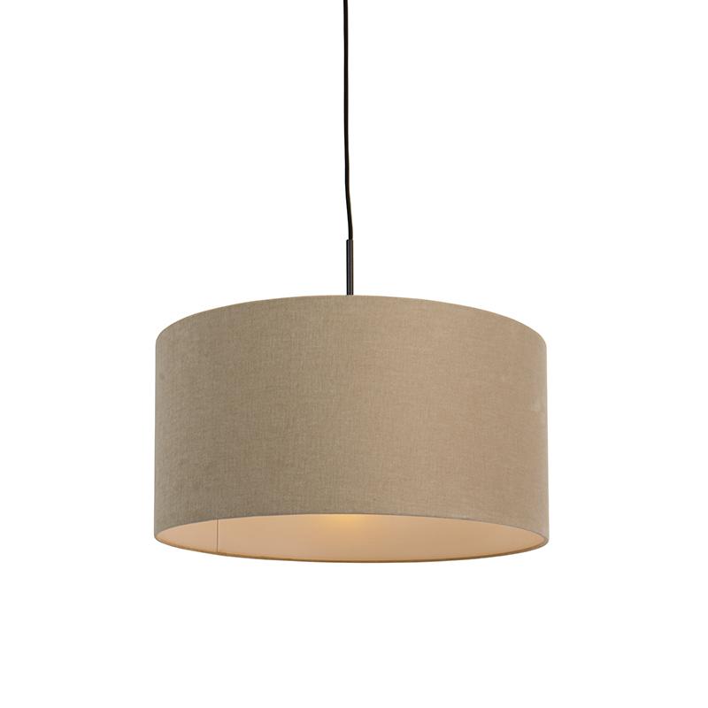 Moderne hanglamp zwart met koffie kleurige kap 50cm - Combi 1
