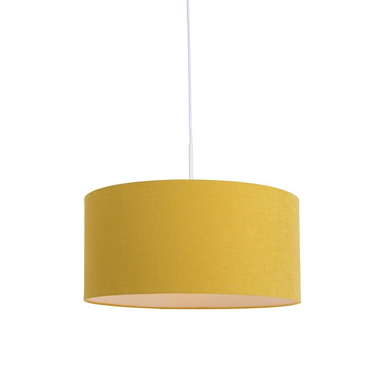 Moderne hanglamp wit met mais kleurige kap 50cm - Combi 1