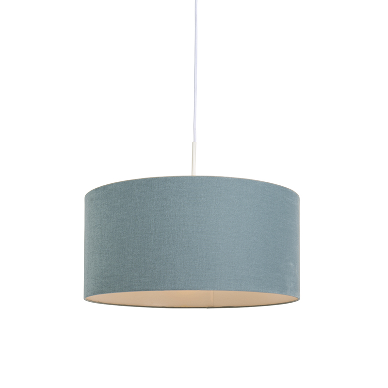 Lampa wisząca biała klosz jasnoniebieski 50cm - Combi