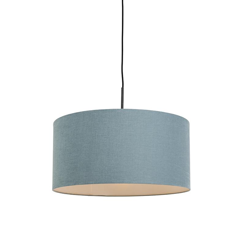 Hanglamp zwart met blauwe kap 50 cm - Combi 1