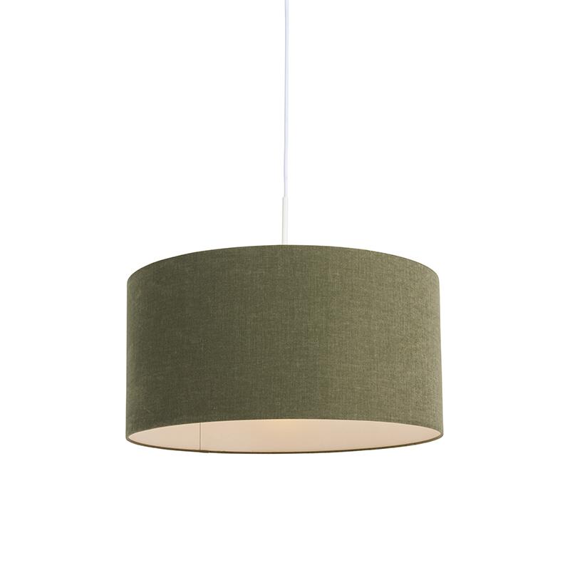 Lampa wisząca biała klosz zielony 50cm - Combi